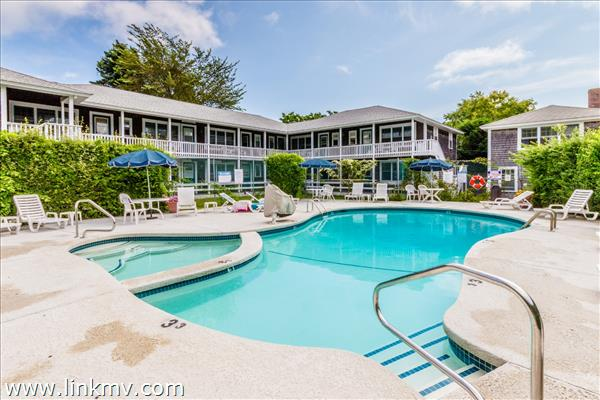 Unit 30 is a top rental at Edgartown Commons a second floor Corner Unit overlooking the Pool