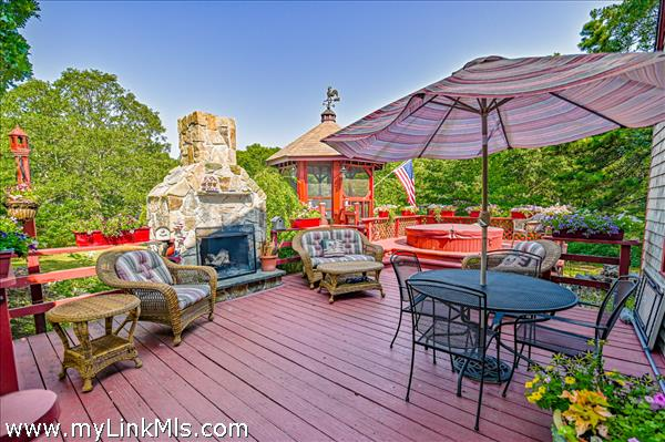 Back Deck with Gazebo and Fireplace