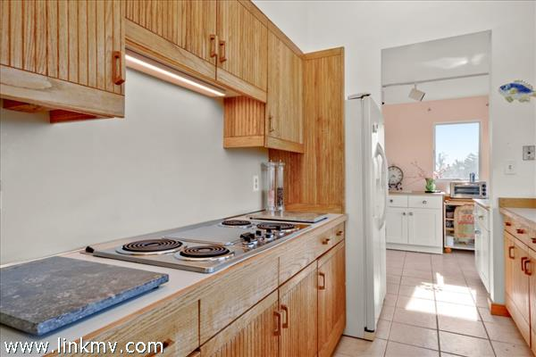 Kitchen opens out to deck