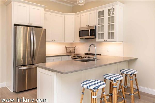 Galley Style Kitchen with Breakfast Bar
