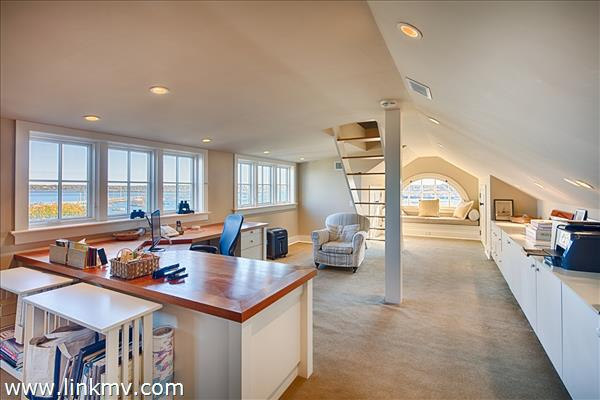 Spacious third floor office with stairs to widow's walk