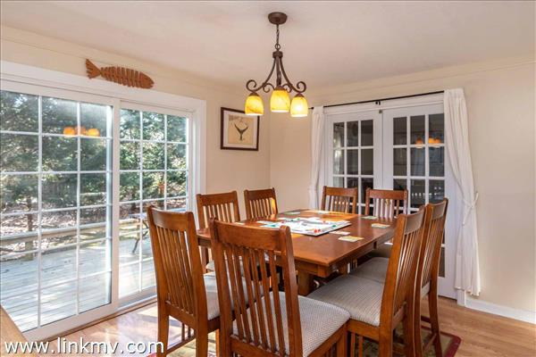 Dining Room Has Sliding French Doors Leading Out to Deck
