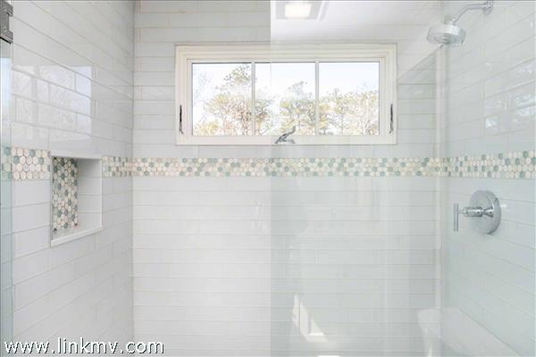 Second Floor Master Bath Has Glass Walk-In Shower