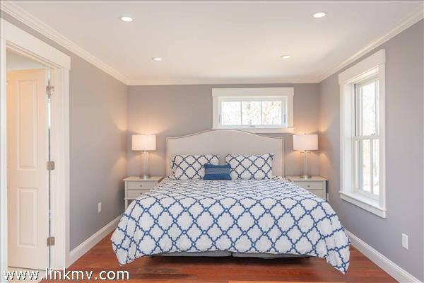 First Floor Master Bedroom Suite Has King Bed and Private Bathroom