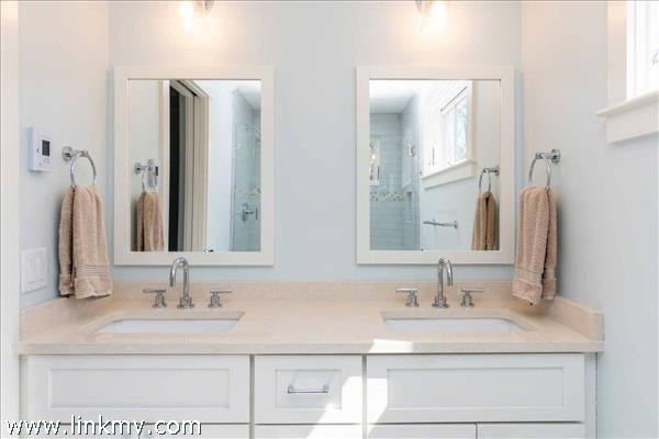 Second Floor Master Bath Has Vanity with Two Sinks