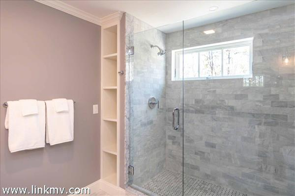 Master Bathroom Has Large Glass Walk-In Shower