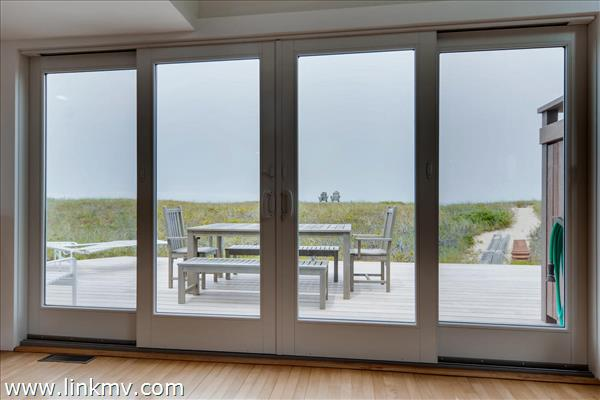 Brand new Ipe wood deck Ipe is an exotic hardwood resistant to rot and decay).  The deck offers plenty of space for dining, a brand new outdoor shower and great views of Dogfish Bar beach and the ocean.