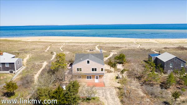 The ultimate beach house with frontage on beautiful Dogfish Bar beach in Aquinnah.