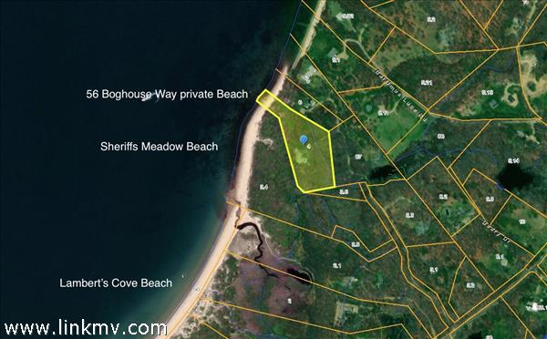 Aerials showing private beach abutting Sheriff's Meadow Beach which abuts Lamberts Cove Beach.