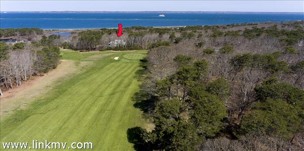 9th Fairway with house and Vineyard Sound in the background