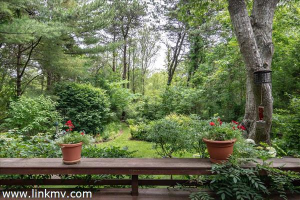 View from deck to gardens.