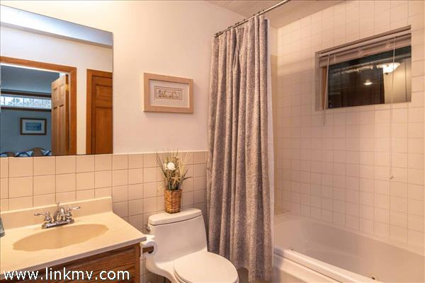 First Floor Bathroom Has Tub and Shower Combination