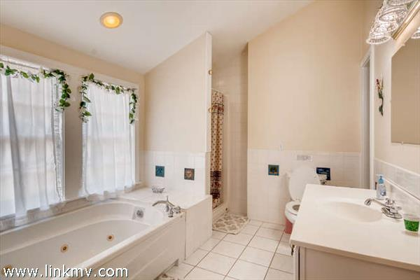Master bath with whirlpool tub & separate shower