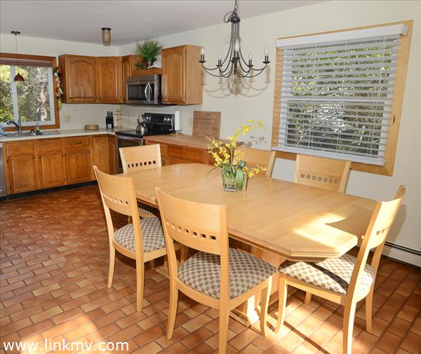 Dining room/Kitchen with Greek Tile floor.