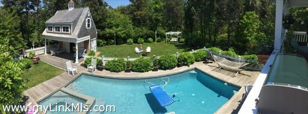 Panorama of backyard and pool