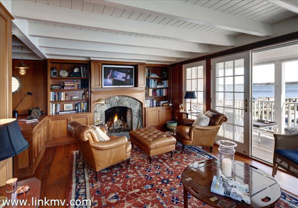 Ferry House Study with fireplace and private outdoor porch