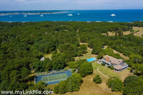 Aerial with views of outer Edgartown Harbor