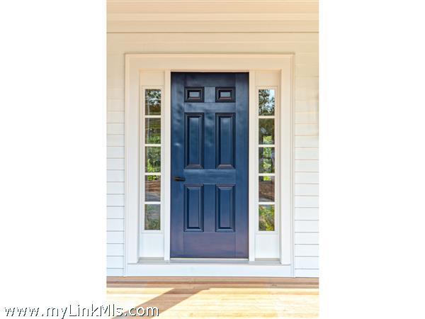 sample of front door painted deep blue
